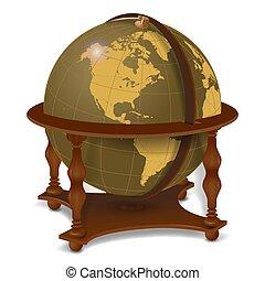 Realistic vintage globe isolated on white background.