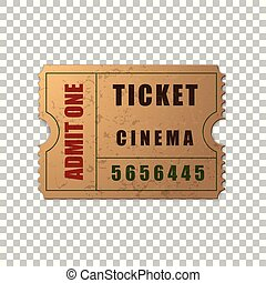 Realistic vintage retro cinema ticket isolated object on transparent background. Cinema, theater, concert, movie, performance, party, event festival ticket template. Admit one. Vector Illustration