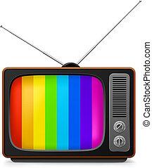 Realistic vintage TV with color frame. Illustration on white...