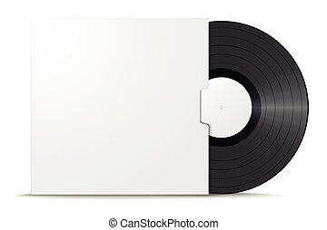Realistic vinyl record in sleeve. Blank mock up isolated on white background. Vector illustration