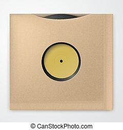 Realistic Vinyl Record with carton Cover. Retro design. Front view