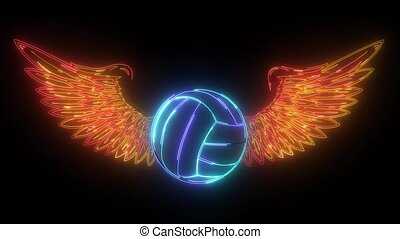 Realistic volley ball with raised up red wings emblem video...