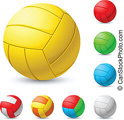 Realistic volleyball in different colors. Illustration on white background