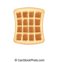 Realistic waffle icon, isolated on white background. Waffles 3d style. Breakfast, baking concept. Vector illustration.