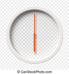 Realistic Wall Clock. Six o'clock am or pm. Transparent...