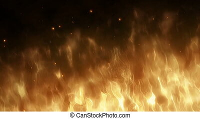 Realistic wall of fire with hot sparks rise in the night...