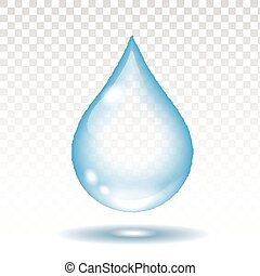 Realistic water drop isolated on white vector illustration, transparency