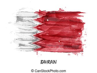 Realistic watercolor painting flag of Bahrain . Vector .