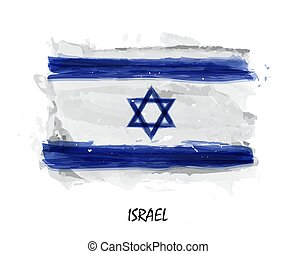 Realistic watercolor painting flag of Israel . Vector .
