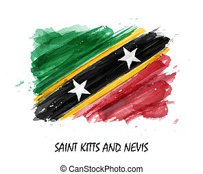 Realistic watercolor painting flag of Saint kitts and nevis . Vector .