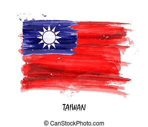 Realistic watercolor painting flag of Taiwan . Vector .