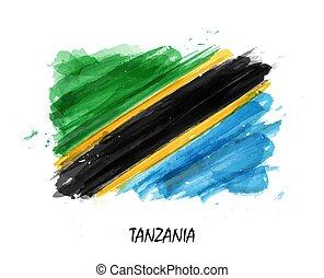 Realistic watercolor painting flag of Tanzania . Vector .