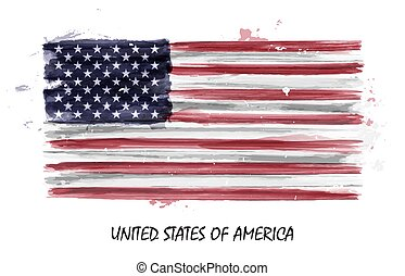 Realistic watercolor painting flag of United states of america . Vector .
