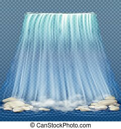 Realistic waterfall with blue clean water and stones, water rapids vector illustration