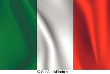 Realistic waving flag of the Italy. Fabric textured flowing flag,vector EPS10