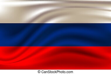 Realistic waving flag of the Russia. Fabric textured flowing...