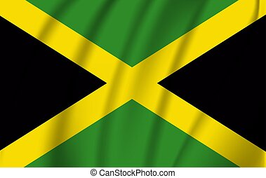 Realistic waving flag of the Waving Flag of Jamaica, high resolution Fabric textured flowing flag,vector EPS10