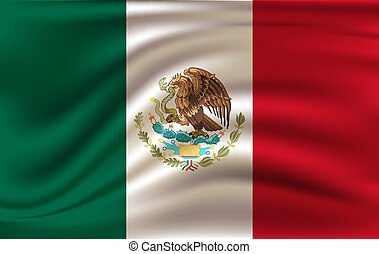 Realistic waving flag of the Waving Flag of Mexico, high resolution Fabric textured flowing flag,vector EPS10