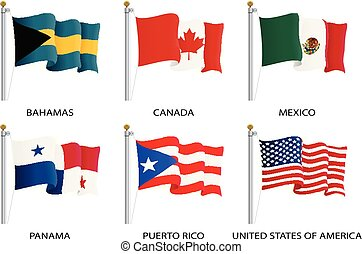 Realistic waving flags of North America continent. USA, Canada, Bahamas, Mexico, Panama, Costa Rico flag on flagpole. Patriotic symbols isolated vector illustration