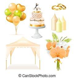 Realistic Wedding Elements Set