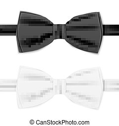 Realistic white and black bow tie