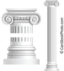 Realistic white antique column - Realistic antique ionic...