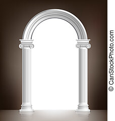 Realistic antique ionic column marble arch background vector illustration