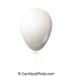 Realistic white balloon with ribbon isolated on white background. Vector illustration of shiny colorful glossy balloon