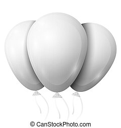 Realistic white balloons with ribbon isolated on white background. Vector illustration of shiny colorful glossy balloon