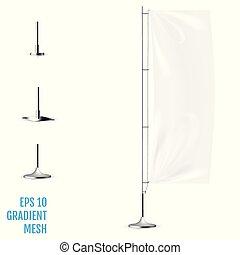 Realistic white banner flag 3d mockup.