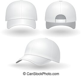 26dc4a29f8b Vector realistic illustration of a white textile baseball cap front ...