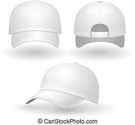 Realistic white baseball cap set.