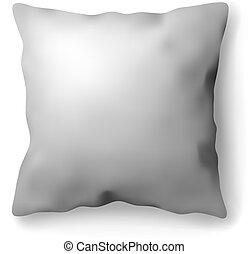 Realistic white bed room rectangle pillow on white isolated background. Vector illustration. Vector mockup design. Photorealistic template.