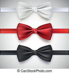 Realistic white, black and red bow tie