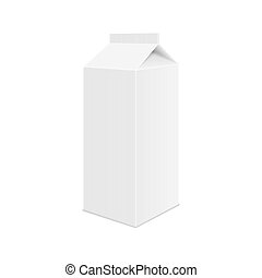 Realistic White Blank Juice, Milk or Soup Carton Package Template. Vector