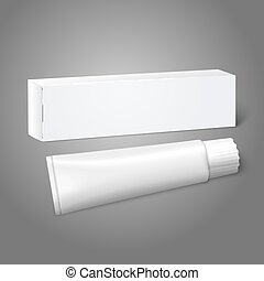 Realistic white blank paper package box with tube for oblong stuff - toothpaste, cosmetics, medicine etc. Vector