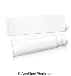 Realistic white blank paper package box with tube for oblong stuff. Vector