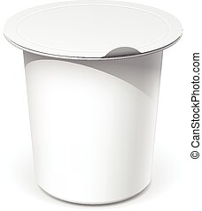 Realistic White blank plastic container for food