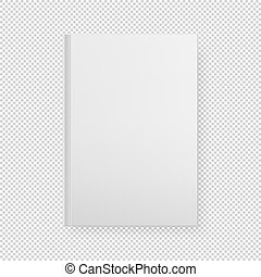 Realistic white book blank cover isolated. Vector mock up.