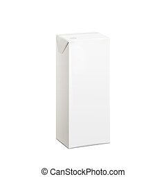 Realistic White carton pack 100 ml For juice, milk and other...