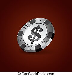 Realistic white chip. Poker chip with a dollar symbol.