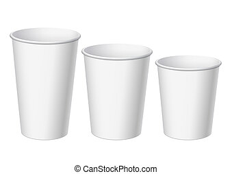 Realistic White Disposable small, big and middle Paper Cups....