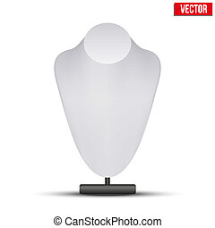 Realistic white dummy necklace bust. Editable Vector Illustration on white background.