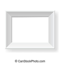Realistic white frame. Form of the number three....