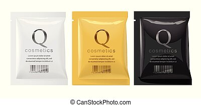 Realistic White, Gold and Black template Packaging