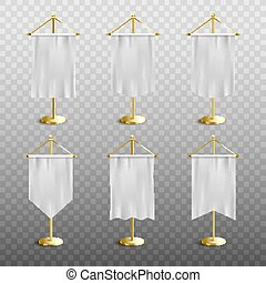Realistic white medieval pennant display set with blank mockups of silk banner flags