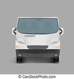 Realistic white minivan, city minibus