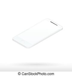 Realistic white mobile phone with blank screen 3d