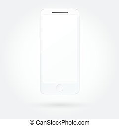 Realistic white mobile phone with blank screen