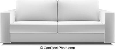 Realistic white modern sofa